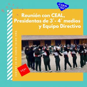 Reunión con CEAL, presidentas de 3ero,4to medio y Equipo Directivo