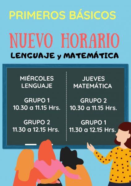 Horario de clases para 1eros básicos