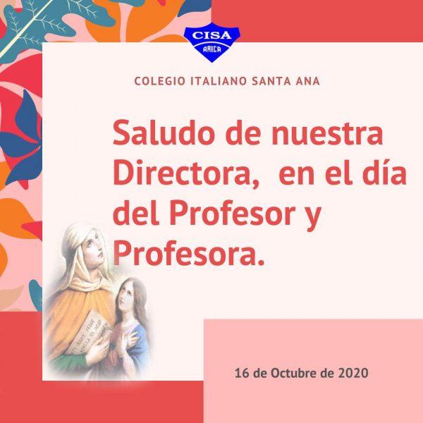 Saludos de nuestra Directora en el Día del Profesor y Profesora