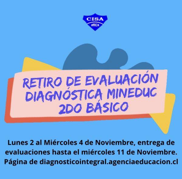 Retiro de Evaluación Diagnóstica MINEDUC para 2 dos básicos y Textos Escolares.