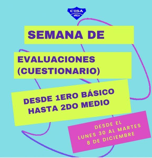 Último período de Evaluación 1ero básico a 2do medio.