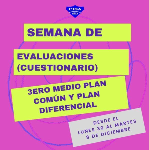 Evaluaciones 3eros Medios: Plan común y Plan diferencial.
