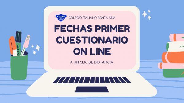 FECHAS PRIMERAS EVALUACIONES ON-LINE
