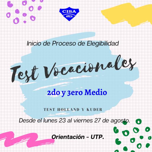 Test Vocacionales para inicio de proceso de elegibilidad