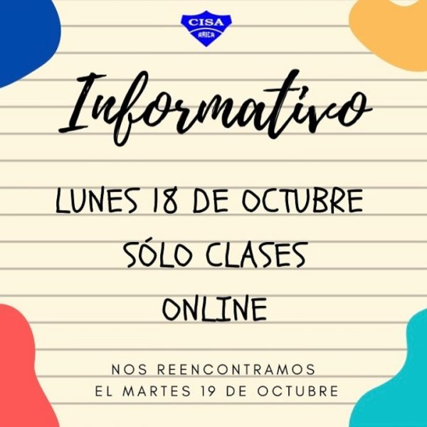 Informativo clases Lunes 18 de octubre